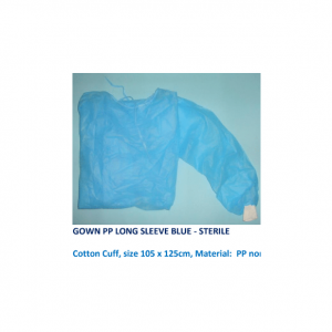 Gown PP Long Sleeve Blue 40g/m2